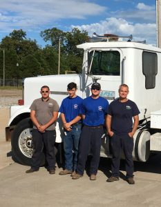 EREC crewmen Mark LeFlore, Philip Gandy, Jordan Jackson and Ken Blair will set up the bunk trailers and shower trailer for use by restoration line crews.  Wesley Clark and Danny Duncan are also delivering bunk trailers for use by Okefenokee Rural EC but were unavailable of the time of the photo.