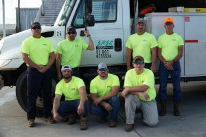 EREC line crew heads to Clay Electric to assist with Hurricane Matthew power restoration.  Pictured back row are David Deese, Brandon Smith, Kent Calloway and Gary McCaskill.  Kneeling in front are Jeremiah Daugett, Jonathan Tutt and Tony Moody.