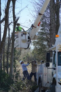 Gary McCaskill (in bucket), David Deese and Jeremiah Daugett repair power lines on Jefferson Road following yesterday's tornado.