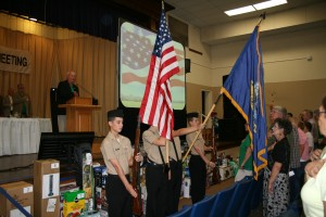 Presenting flags in color guard ceremony at EREC annual meeting