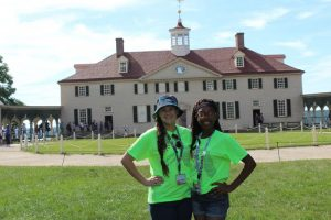 Rebecca Boutwell and Zipporah Harris at historic Mount Vernon during the Rural Electric Youth Tour.